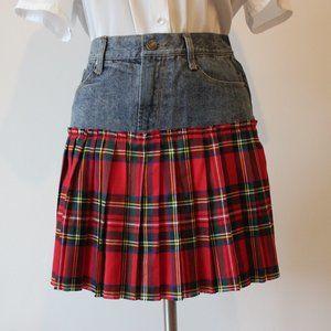 En Creme Denim & Plaid Mini Skirt